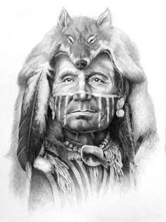 """Ghost of the Wolf"" by Joe Belt {pencil drawing done for the Ossahatchee Pow-Wow…"