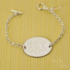 vine monogram oval engraved bracelet by ElizajayCharm on Etsy, $14.95