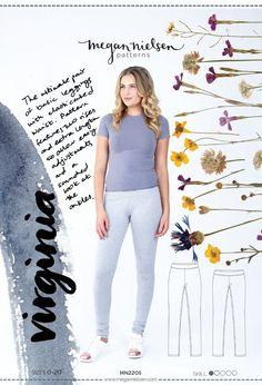 The Virginia Leggings sewing pattern by Megan Nielsen Patterns is the ultimate pair of basic leggings with elasticated waist. Basic Leggings, Printed Leggings, Sewing Tutorials, Sewing Hacks, Sewing Projects, Sewing Tips, Sewing Ideas, Pdf Patterns, Print Patterns
