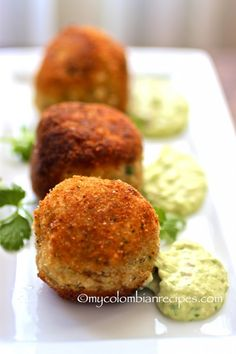 "Chorizo, Cheese and Potato Croquettes with Avocado Aioli - - This month's The Creative Cooking Crew challenge was ""Meat and Potatoes"". So I decided to make Chorizo, Cheese and Potato Croquettes with Avocado Aioli. Tapas Recipes, Appetizer Recipes, Mexican Food Recipes, Cooking Recipes, Spanish Chorizo Recipes, Tapas Ideas, Canapes Recipes, Fingers Food, Potato Croquettes"