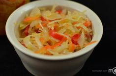 Back in Ukraine pickled cabbage was one of the most important foods. It was cheap, tasted good with potatoes and mom made all kinds of soups with it. I love this cabbage salad because it has nice flavor from bell peppers. I buy it in Russian store all the time. This year I wanted to can my own salad. Not only this salad is very cheap to make at home, you also know all ingredients that go in it. Also one of my sisters Tanyas recipes. Note: This recipe makes about five of 1 quart jars