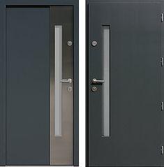 Drzwi wejściowe z aplikacjami inox model 417,1-417,11 w kolorze antracyt
