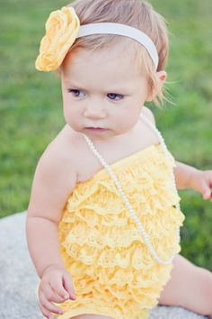 Yellow lace ruffle petti romper for baby and by PrettyPetalsHair, $19.95