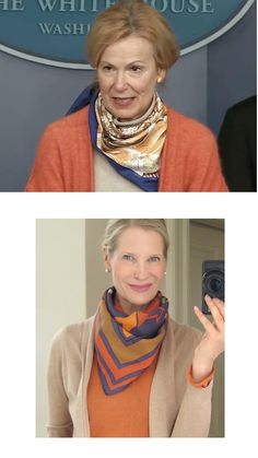 Birx has sparked a huge interest in scarves in recent weeks, so I thought it would be fun to create looks that are inspired by her . Cowboy Knot, Pink Grey, Beige, Scarf Rings, Mai Tai, Scarf Design, Emilio Pucci, Silk Scarves, Capsule Wardrobe