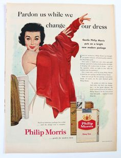 Philip Morris Cigarettes Ad Vintage 1950s by MarymereVintage