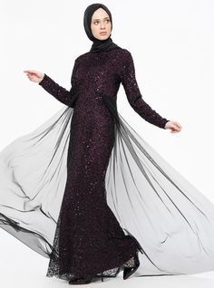 ad8a2ed12e018 Plum - Fully Lined - Crew neck - Muslim Evening Dress