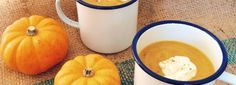 Curried pumpkin & squash soup with smoked paprika yogurt recipe by Three Sisters Bake for Graham's The Family Dairy.  #PumpkinSoup #SoupRecipes