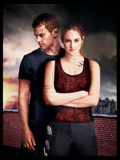 Shailene Woodley and Theo James- Tris prior and Tobias Eaton Divergent Tris, Tris Et Tobias, Divergent Poster, Theo James, Hunger Games, Tris E Quatro, Tris Und Four, Beaux Couples, Image Film