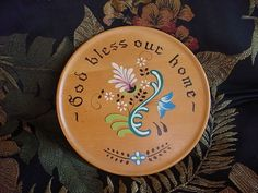 Vintage Hand Painted Wooden Plate God Bless Our Home Scandinavian