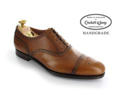 Barrington 2 - Tan Antique Calf, a semi brogue oxford with medallion punching on the toe. Made from the finest calf leather and bark tanned single leather soles for the Hand Grade Collection.