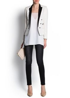 Satin lapels double-breasted blazer with padded shoulders, buttoned long sleeves, welt pocket and twin side flap pockets. Love Jeans, Red Jeans, Slim Jeans, Casual Wear, Casual Outfits, Trendy Fashion, Womens Fashion, Blazer Fashion, Office Outfits
