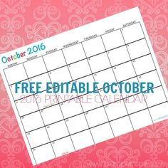 Use this free printable calendar October 2016 to plan your meals, kids activities, cleaning schedule, etc.