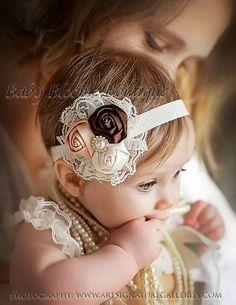 Baby Headband, Lace flower headband, newborn headband, Satin Rosette headband, Baby girl Headbands, toddler headband, Shabby Chic, hair | http://headbandbrendon.blogspot.com