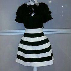 Classy & Chic B/W skirt Brand new with tags. **Only 1 Large**  This gorgeous skirt features horizontal white and black lines. So chic and classy make this designer piece a staple in your closet Pair with a black top, blazer and heels or with a playful white top and booties with a denim jacket.   Zipper detail in back  Stretchy material. Overall length approx 18 inches  80% polyester 20% elastic Size L Skirts A-Line or Full