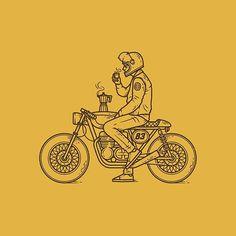 Café Racer line work hand drawn illustration drawing badge patch logo branding motorbike bike coffee cafe racer Art And Illustration, Illustration Inspiration, Illustrations, Bike Tattoos, Motorcycle Tattoos, Motorcycle Logo, Motorcycle Dealers, Women Motorcycle, Logo Branding