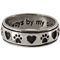 Always By My Side Paw Sterling Ring at The Animal Rescue Site
