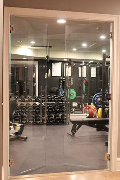 Glass Doors leading into a Home Gym