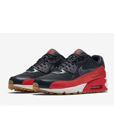 size 40 fbd50 7c5b5 Nike Air Max 90 Black Red Womens