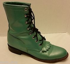 Justin-Womens-Turquoise-Blue-Leather-Lace-Up-Kiltie-Cowboy-Western-Boots-sz-9-B