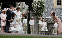 Kate, Duchess of Cambridge, right, stands with her son Prince George as she looks across at Pippa Middleton and James Matthews after their wedding - Credit: AP Photo/Kirsty Wigglesworth Pippas Wedding, Wedding Of The Year, Sister Wedding, Wedding Dresses, Wedding Photos, 2017 Wedding, Wedding Outfits, Elegant Wedding, Wedding Ceremony