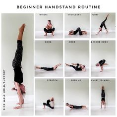 Beginner mini routine So for those that need some guidance on creating a handstand practice I hope this mini post might help? Arm Yoga, Core Stretches, Yoga Tips, Handstand, Stress Relief, Fitspiration, Yoga Fitness, Routine, This Or That Questions