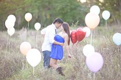 balloon engagement. Would be cute for pregnancy picture too. Balloons the color of the sex