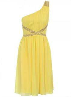 Yellow One Shoulder Dress with Sequin Embellishment,  Dress, one shoulder dress  sequin embellishment, Chic