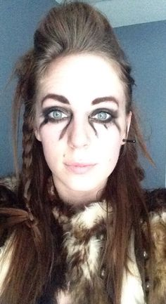 My 5 Minute Viking Make Over! Vikings Season 4. Back comb hair - black eye shadow - fur and a bump with braid in my hair #vikings #halloween #costumes