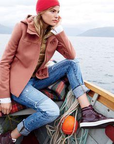 DEC '14 Style Guide: J.Crew women's melton hooded bib coat and broken-in boyfriend jean in rogers wash.