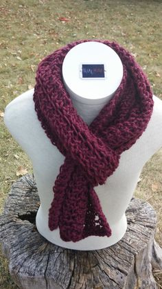 Maroon Ladder Lace Knitted Scarf