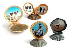 Seashell photo frames - use the shells collected on vacation to showcase your favorite photos. Print your photos at Kodak Picture Kiosk. #photo #project #DIY