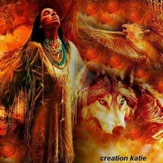 indian & wolf