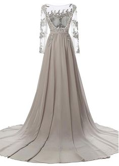 Flowing Tulle & Chiffon Bateau Neckline A-Line Evening Dresses With Beaded Lace Appliques