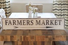 Farmers Market Sign Kitchen Sign Wooden Farmers by EmeraldMarket Barn Wood Signs, Diy Wood Signs, Rustic Signs, Wall Signs, Diy Rustic Decor, Rustic Home Design, Diy Home Decor, Rustic Wood, Boho Decor