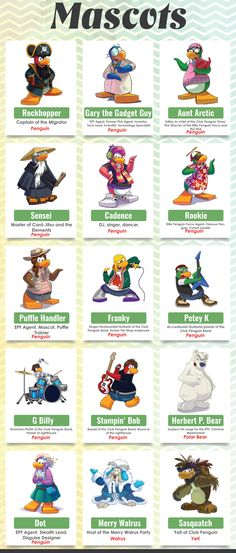 Club Penguin Mission Walkthrough Mascots And Characters http://www.clubpenguinmissionwalkthrough.com/