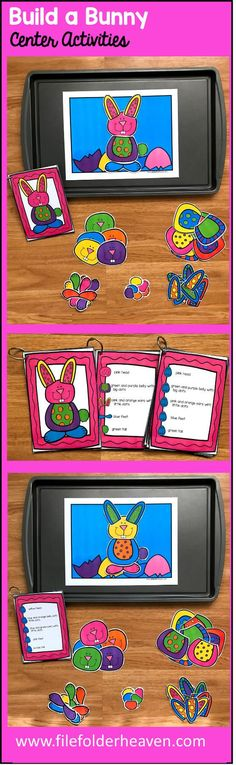 The Build a Bunny Center Activities, can be set up as cookie sheet activities, a magnet center or completed as cut and glue activities. This activity includes: 1 background, pieces for bunny building, and three sets of building cards for differentiation. Students can build 16 different bunnies by looking a picture cards (level 1), using the cards with words and pictures (level 2), or using the cards with just words (level 3).