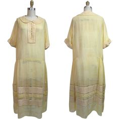 1920s Cotton Voile Day Dress with Smocked Gingham Check