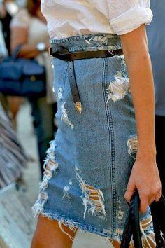 Джинсовая юбка стиль гранж
