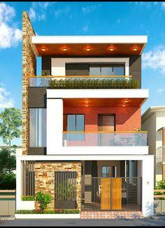 New exterior facade design front porches ideas 3 Storey House Design, Bungalow House Design, House Front Design, Small House Design, Modern House Design, Facade Design, Exterior Design, Architect Design House, Indian House Plans