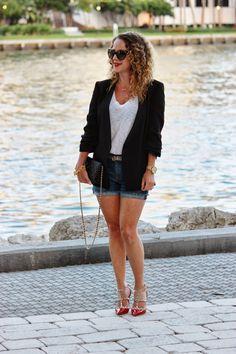 Denim Shorts and Black Blazer