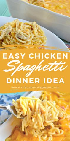 Get the very best Cheesy Chicken Spaghetti recipe on the planet! Straight from our Texas heritage, this easy dinner recipe has been a family favorite for years and is made with Rotel and Velveeta cheese. It's baked in the oven and comes out with perfect cheesy goodness that your family will love! #ChickenSpaghetti #rotel #velveeta #cheesy #recipe Chicken Spaghetti Velveeta, Chicken Spaghetti Recipes, Spaghetti Dinner, Cheesy Chicken, Easy Dinner Recipes, Family Meals, The Best, Macaroni And Cheese, Yummy Food