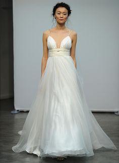 Carol Hannah Fall 2016 plunging V-neckline empire waistline wedding dress | https://www.theknot.com/content/carol-hannah-wedding-dresses-bridal-fashion-week-fall-2016
