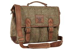 Awesome man bag for the business man that has a lot to carry. - Harris Tweed Satchel, Tan on OneKingsLane.com