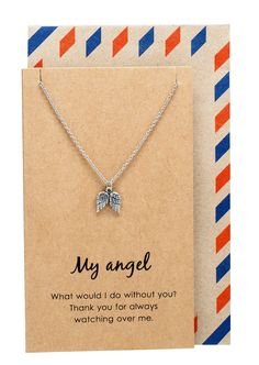 Kaitlin Angel Wings Necklace, Silver - Quan Jewelry - 1