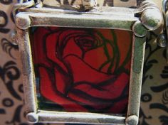 La Rosa Loteria Silver and Glass Framed by UncommonAlchemy on Etsy, $15.00
