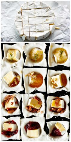 Baked Brie Bites are perfect appetizers with 4 flavours to choose from! Maple Bacon, Garlic Butter Herb, Apricot Walnut and Cranberry Sauce! Brie Puff Pastry, Puff Pastry Appetizers, Brie Appetizer, Bite Size Appetizers, Yummy Appetizers, Brie Bites, Quiche, Best Holiday Appetizers, Baked Camembert