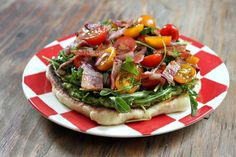 Pizza Salad Grilled pizza dough with guacamole and veggies