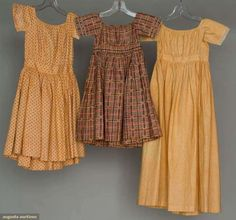 Augusta Auctions, November 2, 2011 NYC, Lot 174: Three Todlers' Calico Dresses, 1830-1850