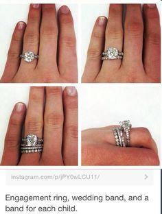 I'm so doing this! Engagement ring, wedding band, and a band for each child. Can't wait <3