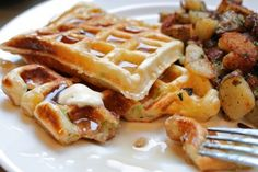 Savory scallion cheddar waffles & hash-browns